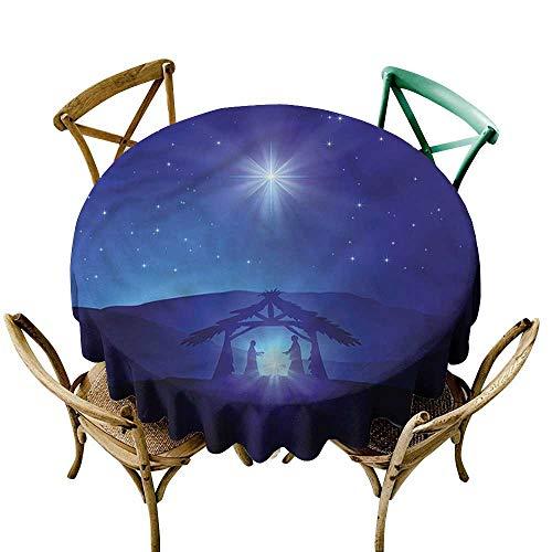Luunins Round Tablecloth for Wedding Black Indigo,Night Sky and Bethlehem D36,for -