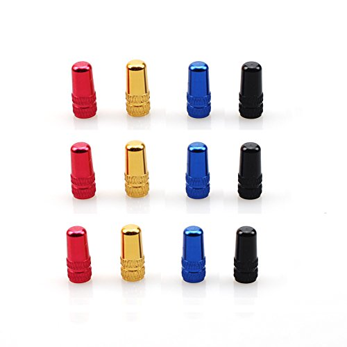 Presta Valve Cap 12 PCS CYSKY Aluminum Alloy Bicycle Bike Tire Valve Caps Dust Covers French Style Presta Valve Cap (4 Colors)