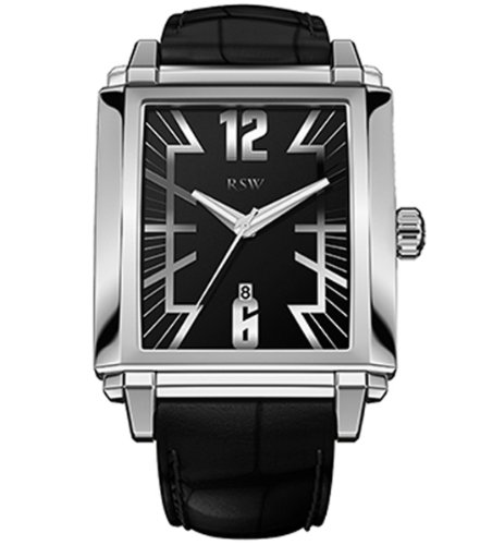 RSW Men's 9220.BS.L1.1.00 Hampstead Rectangular Black Dial Leather Watch