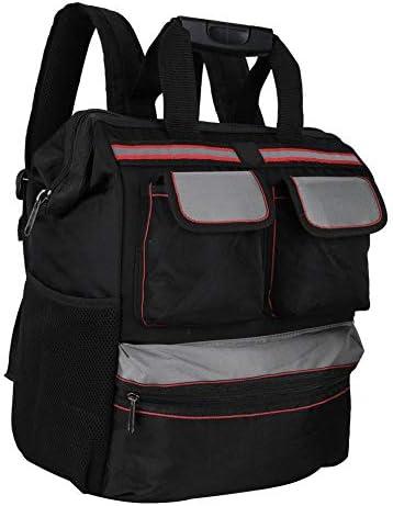 ツールバッグ、YILEQIオックスフォード布ツールバッグツールストレージバッグ多機能修理ツールバックパック電気技師用品(ブラック)