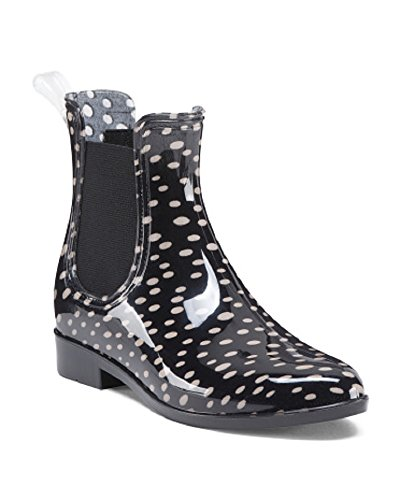 Nicole Miller Pull On Chelsea Rain Boots With goring Side Panels Polka Dot QfeFkg8I7