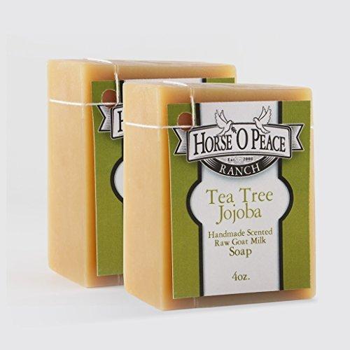 Handmade Herbal 100% Raw Goat Milk Tea Tree Jojoba Soap (2 Pak) Horse `O Peace