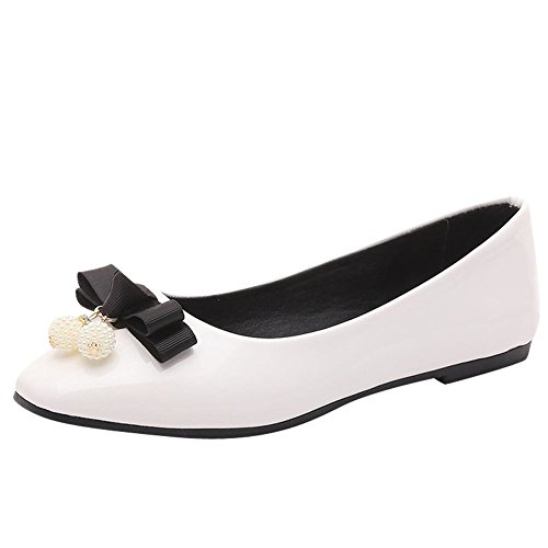 Charm Foot Womens Sweet Bows Flat Pumps Shoes Bianco