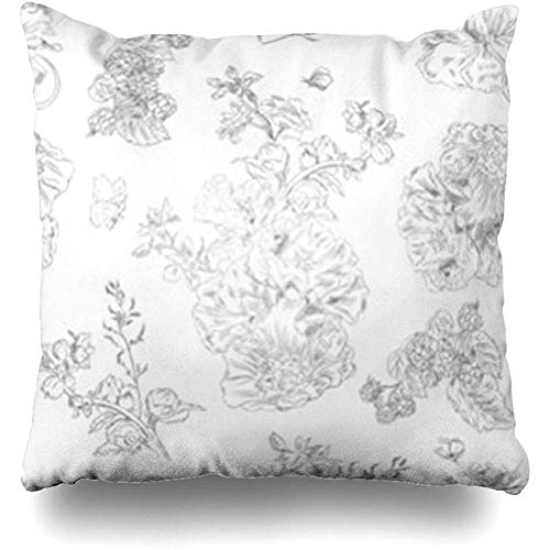 Throw Pillow Covers Pillowcase On Jouy Floral Pattern Peony Raspberries Black Line Nature White Vintage Toile Jouybackgrounds Design Square Size 18 x 18 Inches Home Decor Cushion Cases
