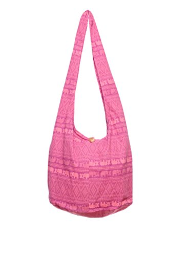 Avarada Thai Cotton Hippie Hobo Sling Crossbody Bag Messenger Purse Bohemian Elephant Print Pink