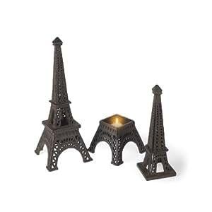 Abbott Collection Cast Iron Eiffel Tower Candle Holder, Dark Brown