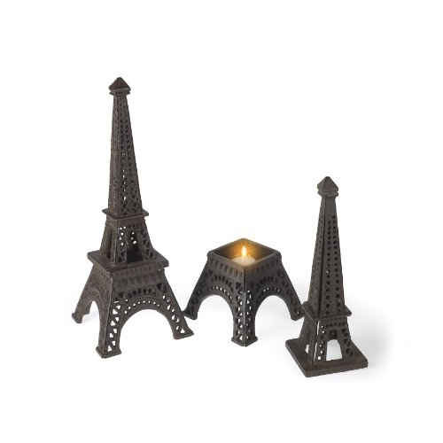 Abbott Collection Cast Iron Eiffel Tower Candle Holder, Dark Brown