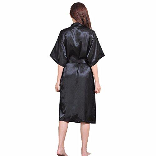 DELEY Unisex Pareja Mujeres Kimono Satén Seda Suave Dormir Peignoir Bata de Baño Albornoces Ropa de Dormir Camisones Negro