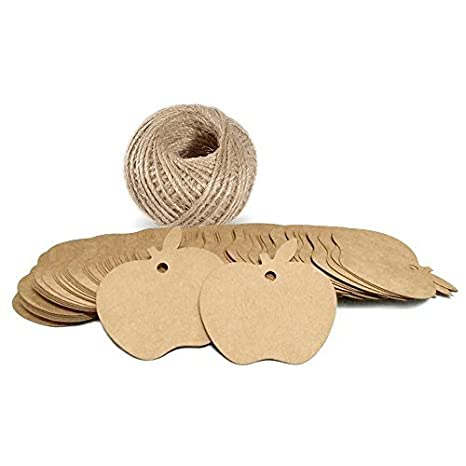 Thank You Gift Tags,Wedding Favor Tags,Paper Tags,100 Pcs Thank You for Sharing Our Special Day Tags with Jute Twine,Brown 7cm x 4cm Tags