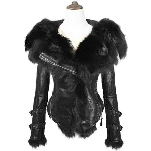 She'sModa Natural Real Fox Fur Collar Hoodie Slim Fit Women's Zipper Fleece Moto Jacket Winter Coat Black ()