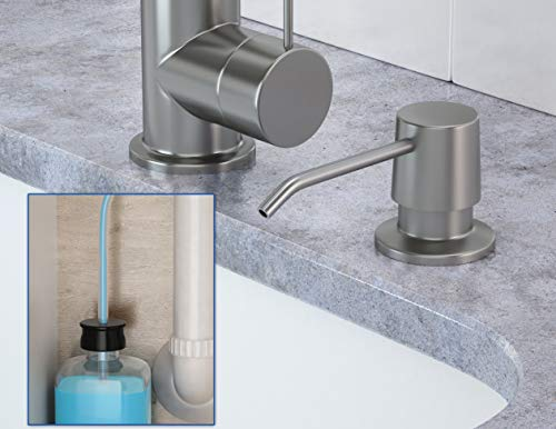 """Besser Products Kitchen Sink Soap Dispenser and Tube Kit - Made of Complete Brass and Stainless Steel Finish, 36"""" Tube Connects Directly To Soap Bottle, No More Messy Refills by Besser Products (Image #1)"""