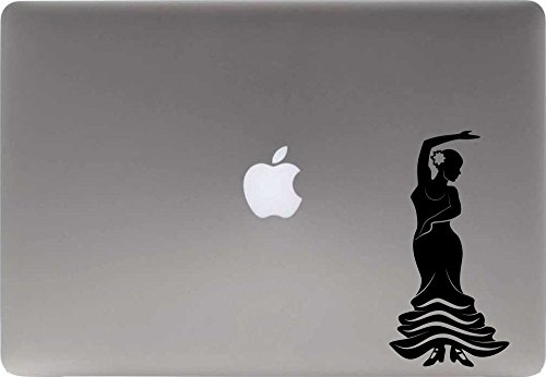 (Flamenco Dancer Silhouette Vinyl Decal Sticker for Computer Macbook Laptop Ipad Electronics Home Window Custom Walls Cars Trucks Motorcycle Automobile and More (BLACK))
