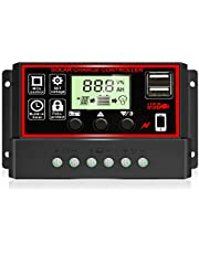 [2021 Upgraded] 30A Solar Charge Controller, Black Solar Panel Battery Intelligent Regulator with Dual USB Port 12V/24V PWM Auto Paremeter Adjustable LCD Display (30a)
