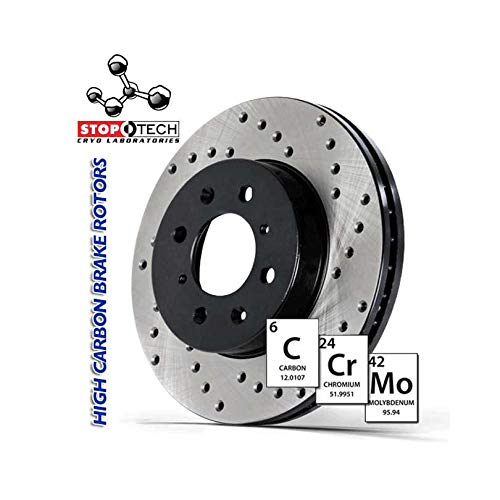 Left StopTech 128.40092CL Sportstop Cryo Drilled Rotor