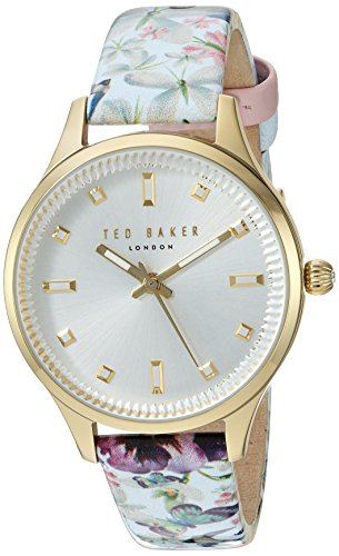 Ted Baker Women's Zoe Stainless Steel Japanese-Quartz Watch with Leather Strap, Multi, 14 (Model: 10031554