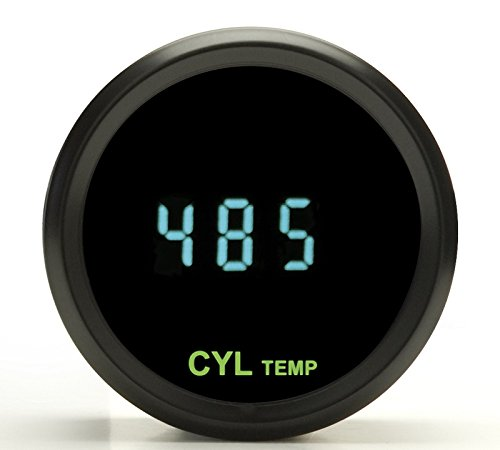 Dakota Digital Round Cylinder Head Temperature CHT Gauge Teal Display Black Bezel ODYR-11-1-K by Dakota Digital