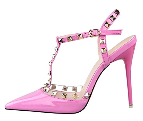 HooH Femmes Cuir Verni T-Strap Clouté Stiletto Slingback Mariage Sandales Rose 81Aym