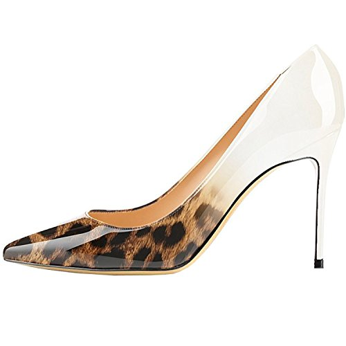 Lovirs Womens Pointed Toe High Heel Stiletto Solid Color Patent Leather Pumps Wedding Party Shoes Leopard-white MM3RTLc1