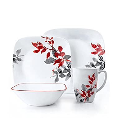 Corelle Square 32-Piece Dinnerware Set, Kyoto Leaves, Service for 8