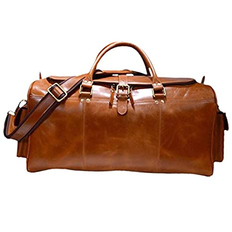 Zakara Full Grain Buffalo 100%Genuine Brutus Leather Travel Bag, Duffle Bag for travel, Weekend bag, Leather Weekender, Leather Duffle Bag,...