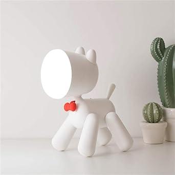 Lámpara de mesa blanca para cachorros Lindo regulador de dos hojas ...