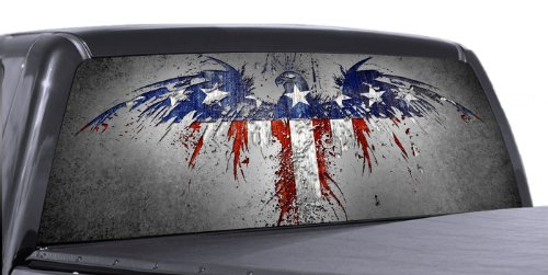 VuScapes - AMERICAN PATRIOTIC 2 - Rear Window Truck Graphic - decal suv view thru vinyl (Truck Window Graphics Rear)