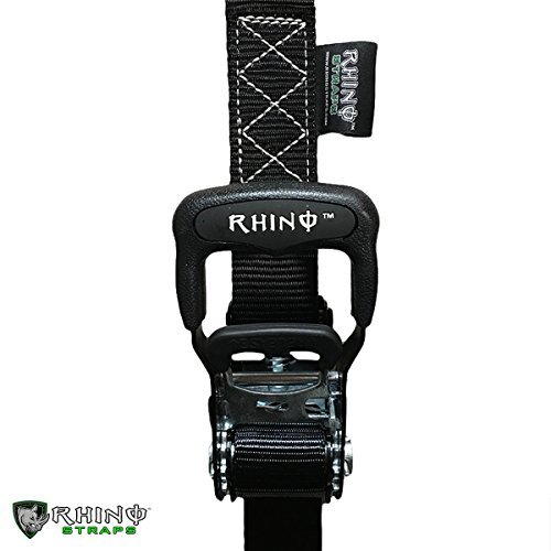 RHINO USA Ratchet Straps Motorcycle Tie Down Kit, 5,208 Break Strength - Includes (2) Heavy Duty 1.6'' x 8' Rachet Tiedowns with Padded Handles & Coated Chromoly S Hooks + (2) Soft Loop Tie-Downs… by Rhino USA (Image #6)