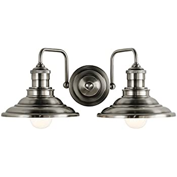 Hainsbrook 2 light 7 in antique pewter cone vanity light amazon hainsbrook 2 light 7 in antique pewter cone vanity light aloadofball Image collections