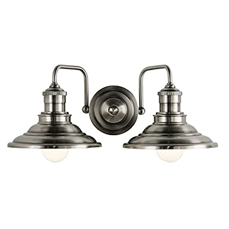 Hainsbrook 2-Light 7-in Antique Pewter Cone Vanity Light - Hainsbrook 2-Light 7-in Antique Pewter Cone Vanity Light