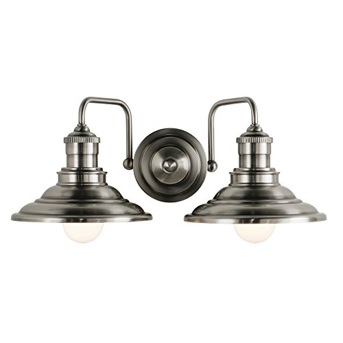 Hainsbrook 2-Light 7-in Antique Pewter Cone Vanity Light (Pewter Antique Lighting)