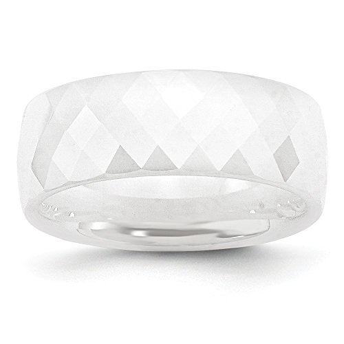 ICE CARATS Ceramic White Faceted 8mm Wedding Ring Band Size 7.50 Classic Domed Fashion Jewelry Gifts for Women for Her