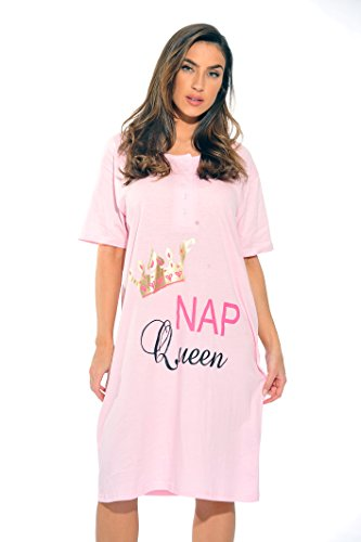 4361-J-48-1X Just Love Short Sleeve Nightgown / Sleep Dress for Women / Sleepwear,Light Pink - Nap Queen,1X (Queen Sleepshirt)
