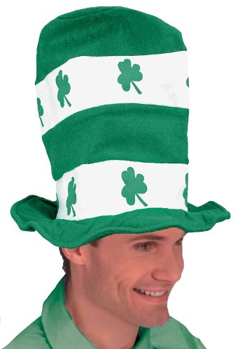 Forum Novelties St. Patrick's Day Costume Stovepipe Hat, White/Green Shamrocks, One ()