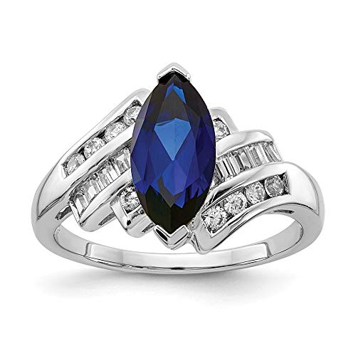 - 925 Sterling Silver Synthetic Blue Sapphire Cubic Zirconia Cz Marquise Band Ring Size 7.00 Gemstone Fine Jewelry Gifts For Women For Her