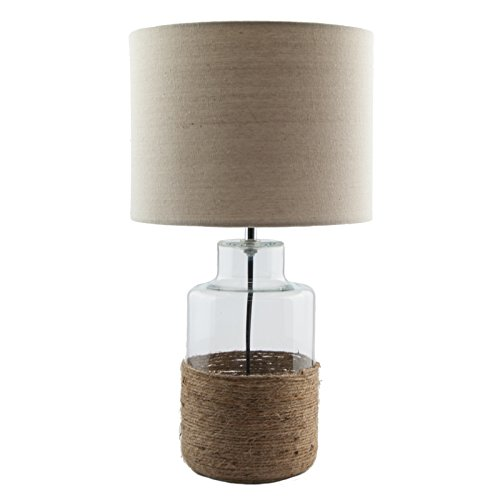 Home Décor U0027Padstowu0027 Glass U0026 Rope Base Rustic Table Lamp With Cream  Lampshade