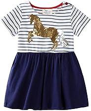 Edjude Baby Toddler Girls Dress Sets Girl Short Sleeve Casual Dress Sequin Basic Tunic T Shirt Dresses