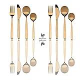HF hoften 16 Pieces Silverware Set, Stainless Steel Flatware Set Include Fork Spoons Knife, Mirror Polished Utensil Service For 4, Dishwasher Safe, Gold (HD847-G)