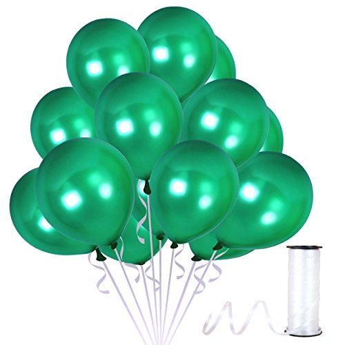 Pack of 100 Metallic Emerald Green Balloons with Curling Ribbons for Birthday Christmas Centerpieces Vendor Booth Decorations