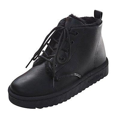 el Tobillo Dedo Tacón Mujer redondo Hasta de Cordón black PU hasta Con Botines Botas Invierno AIURBAG Tobillo Botas Moda Botas Zapatos Plano Otoño el PZxcHq