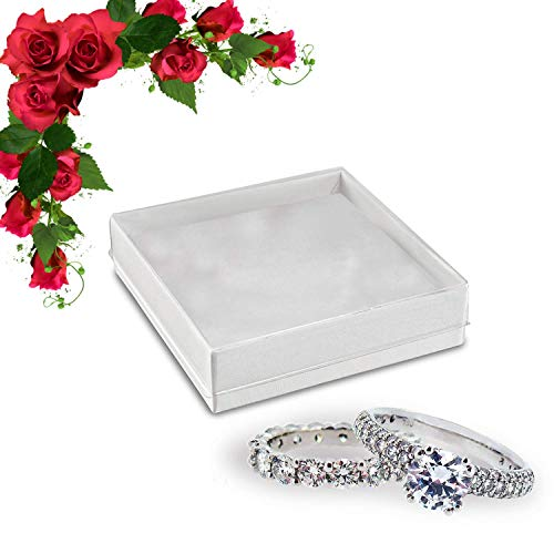 Better crafts Small Jewelry Box Gift Boxes with Lids - White & Clear Favor Boxes 3.5 x 3.5 (10) ()
