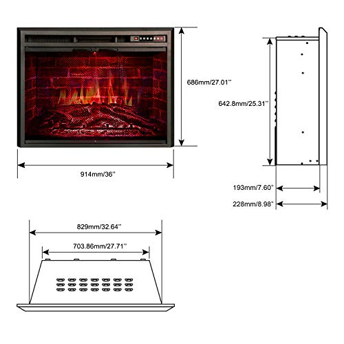 R.W.FLAME Insert, in Heater, Glass Door Mesh with Option