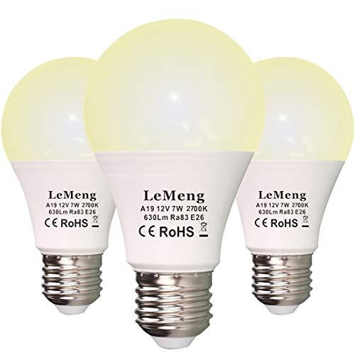 LeMeng 12V LED Light Bulb 7W AC/DC 12volt Low Voltage(2700K Warm White) 60Watt A19 Bulbs Equivalent E26 Base- Landscape…