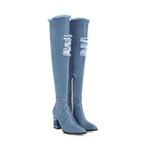 blue alti e taglienti stivali Moda Light DEDE tacchi spessi Sandalette grandi scarpe qwBPHAY0n