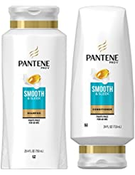 Pantene, Shampoo and Conditioner Kit, with Argan Oil, Pro-V Smooth and Sleek for Dry Hair, 25.4 oz and 24 oz, Kit