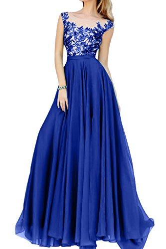 Spitze La Abendkleider mia Bodenlang Braut A Blau Festlich Chiffon Royal Partykleider Herrlich Abiballkleider linie qtUBtwr