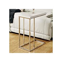 Monarch Specialties I 3008 Chrome Metal and White Accent Side Table