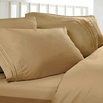 Split Cal King Sheets, Split California King Sheets, Color: Gold, 1800  Thread