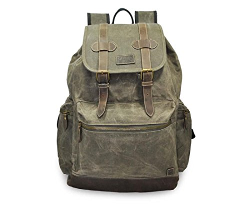 Mato Canvas Backpack Travel Hiking Rucksack Vintage Laptop School Bag Green Bookbag ()
