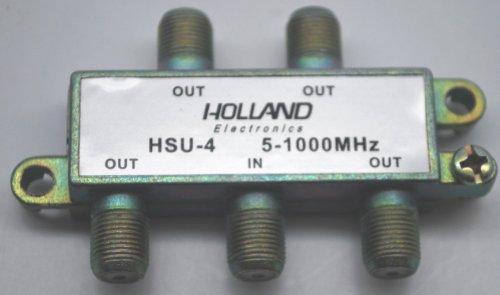 New 4-WAY CABLE TV HOLLAND HSU-4 SPLITTER 5-1000MHZ DC POWER PASSING ALL (Premium Digital Catv Splitters)