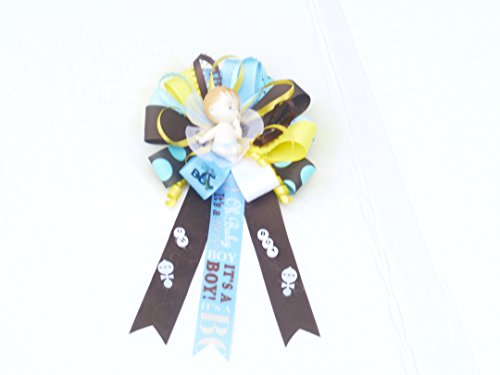 Mod Mom Theme - Oh Baby Oh Boy Baby Shower Theme Corsage Mom Baby (Mod Mommy Oh Baby Oh Boy Babye Theme -Round Oh Boy Mixed Color- Polka Dot Blue Brown Yellow)